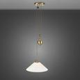 PENDELLEUCHTE FRANCY - Bronzefarben, MODERN, Glas/Metall (40/40/85cm) - Bessagi Home