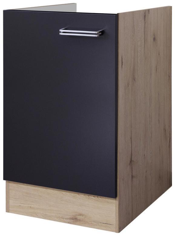 Spodnja Omarica Za Korito Milano - hrast/antracit, Moderno, kovina/leseni material (50/82/60cm)