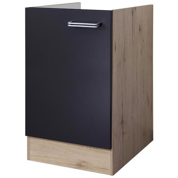 Spülenunterschrank Anthrazit/Eiche - Edelstahlfarben/Eichefarben, MODERN, Holzwerkstoff/Metall (50/82/60cm) - FlexWell.ai