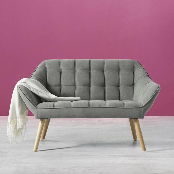 Sofa Monique Zweisitzer - Grau, MODERN, Holz/Textil (127/76/74,5cm) - Bessagi Home