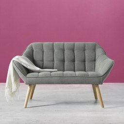 Sofa Monique Zweisitzer - Grau, MODERN, Holz/Textil (127/76/74,5cm) - Mömax modern living