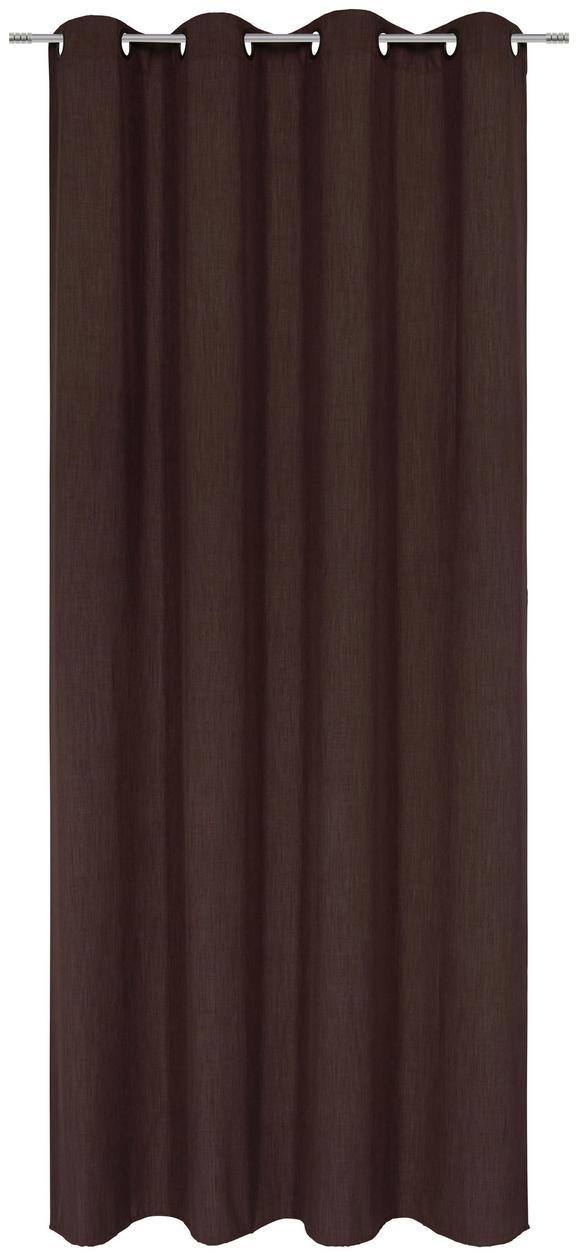 Zavesa Z Obročki Ulli -eö- -ext- - rjava, tekstil (140/245cm) - Mömax modern living