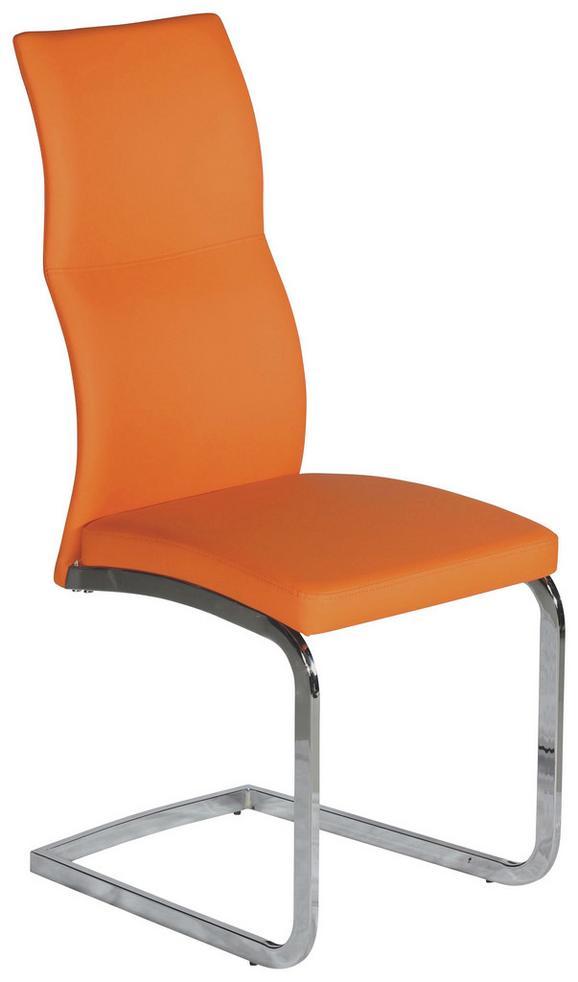 Stuhl in Orange/chromfarben - Chromfarben/Orange, MODERN, Kunststoff/Textil (44/102/62cm) - MÖMAX modern living