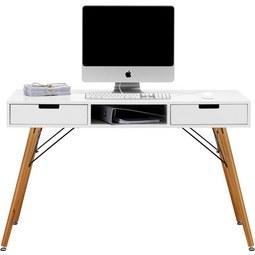 Schreibtisch in Weiß/Braun Massiv - Braun/Weiß, LIFESTYLE, Holz/Metall (120/74/55cm) - Mömax modern living