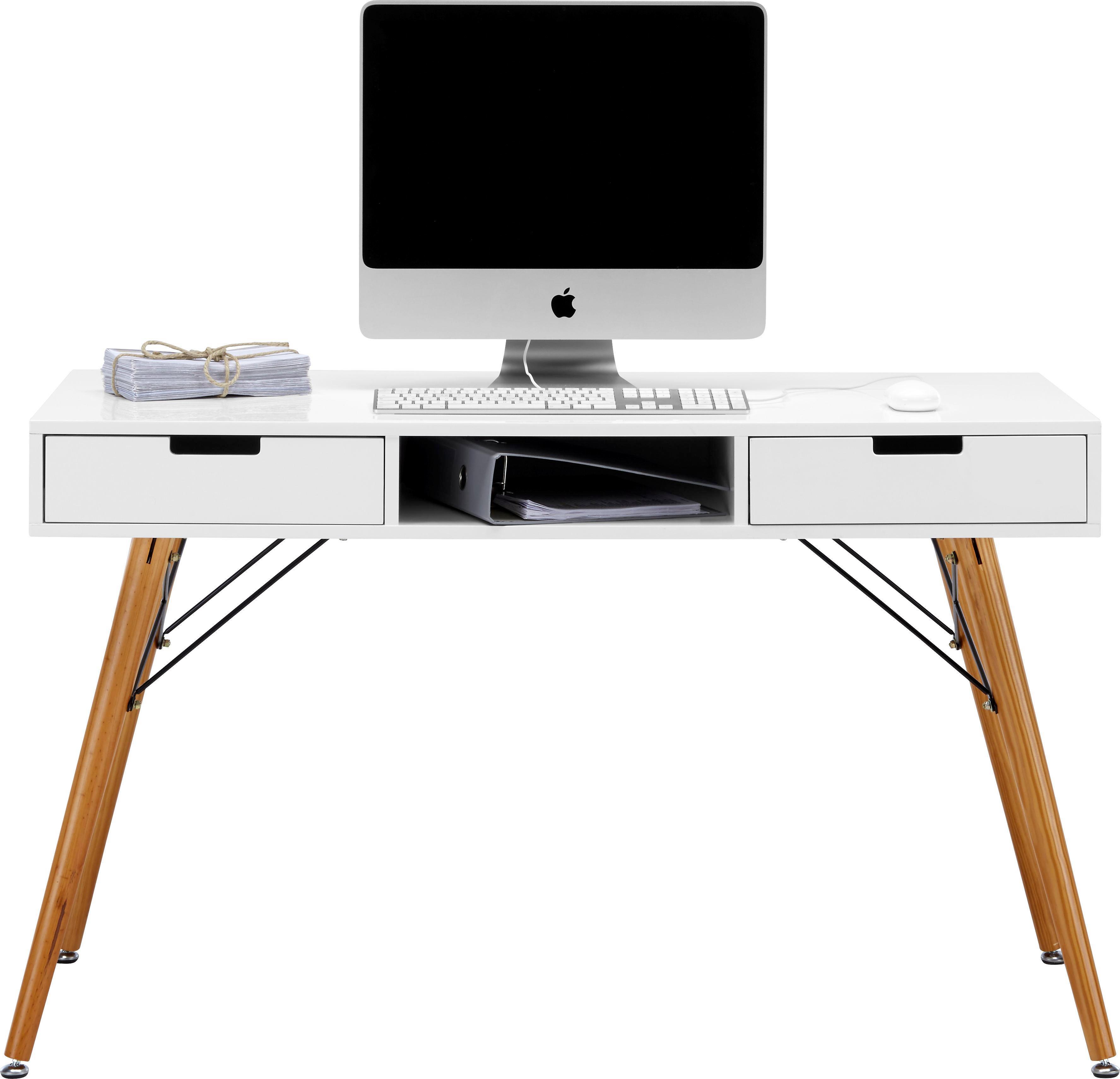 Schreibtisch Weiß/Braun Pinienholz   Braun/Weiß, LIFESTYLE, Holz/Metall (