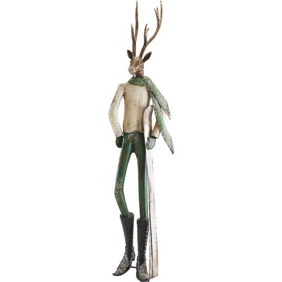Dekohirsch Skilehrer H ca. 87,5 cm - Silberfarben/Weiß, MODERN, Metall (24,15/21/87,5cm) - Mömax modern living