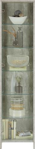 Vitrine Grau/Betonoptik - Alufarben/Grau, MODERN, Glas/Holzwerkstoff (44/183/37cm) - Mömax modern living