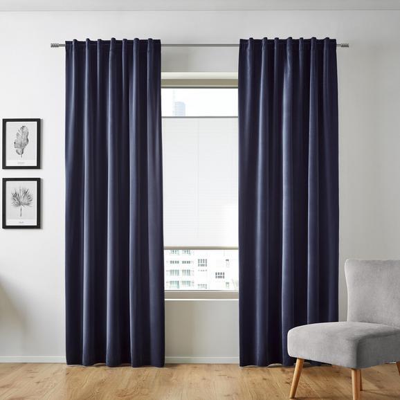 Vorhang Smilla aus Samt ca.135x245cm - Blau, Textil (135/245cm) - Mömax modern living