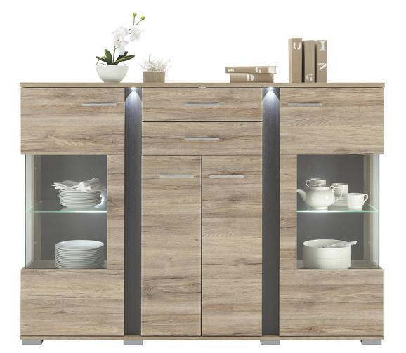 Highboard Eiche/schieferfarben - Silberfarben, MODERN, Kunststoff/Metall (170/126/42cm) - Premium Living