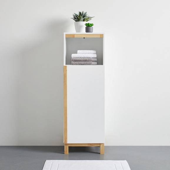 Hochschrank Weiß/ Holz 'Rico' - Naturfarben/Weiß, MODERN, Holz (42/125/35cm) - Bessagi Home