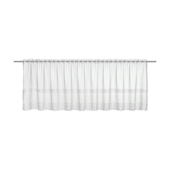 Vitrázsfüggöny Fehér Csipkedíszítéssel 150/47 - Fehér, romantikus/Landhaus, Textil (150/47cm) - Mömax modern living