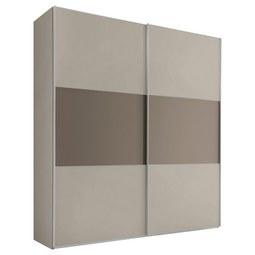 Schwebetürenschrank Includo B:188cm Sand/Umbra Dekor - Taupe/Sandfarben, MODERN, Glas/Holzwerkstoff (188/222/68cm) - Bessagi Home