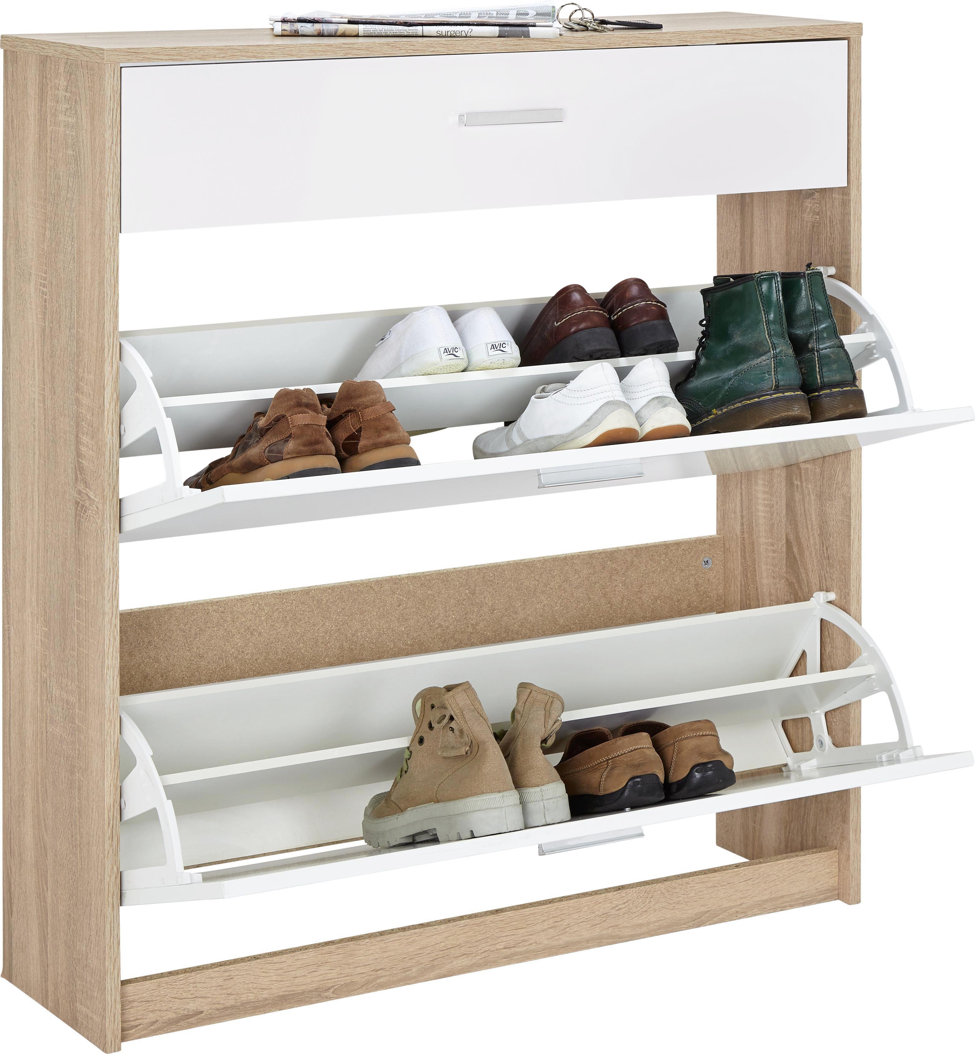 Schuhschrank in Eiche/Weiß - Eichefarben/Weiß, MODERN, Holzwerkstoff/Kunststoff (93,2/103/25cm) - MÖMAX modern living