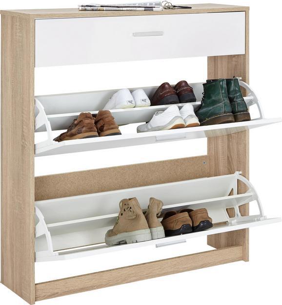 Schuhschrank Weiß/Eichefarben - Eichefarben/Weiß, MODERN, Holzwerkstoff/Kunststoff (93/103/27cm) - Mömax modern living