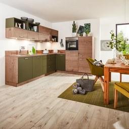Eckküche Manhattan Uni/Timber Olive - Eichefarben/Olivgrün (215/285cm) - Nolte Küchen