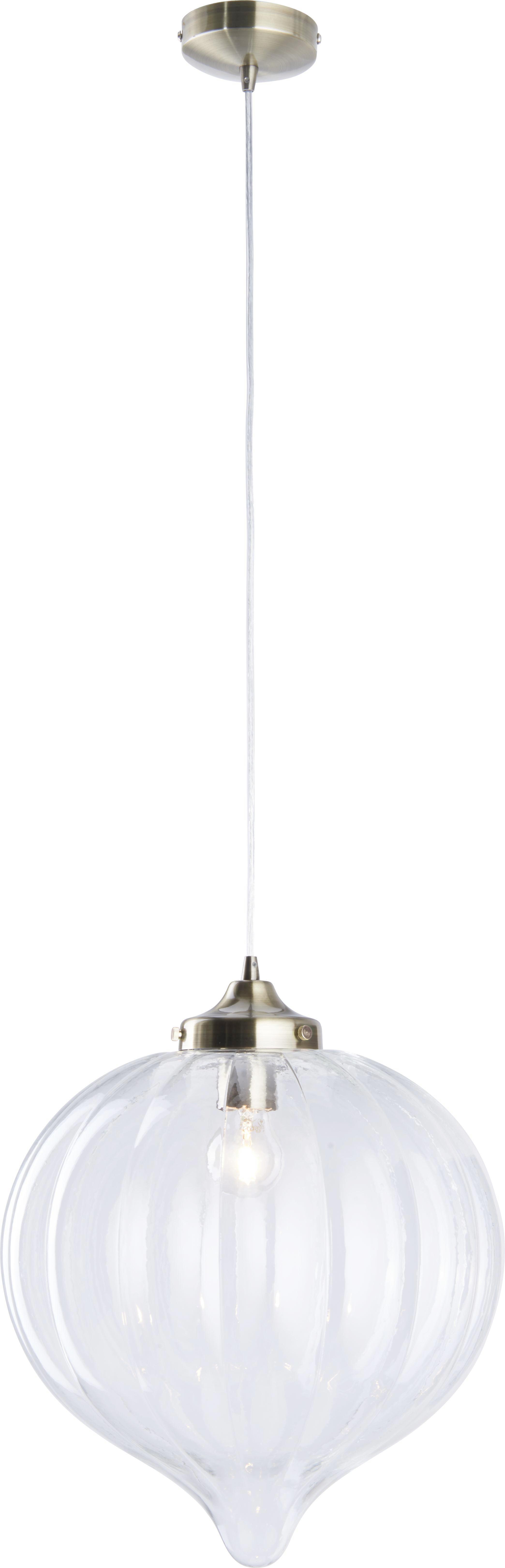 Hängeleuchte Claire - Klar/Messingfarben, MODERN, Glas/Kunststoff (35/10cm) - PREMIUM LIVING
