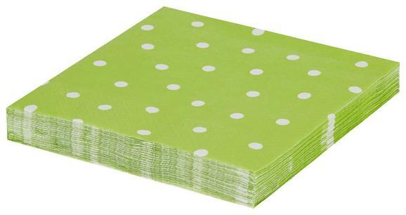 Serviette Dots in Grün/Weiß - Weiß/Grün, Papier (33/33cm)