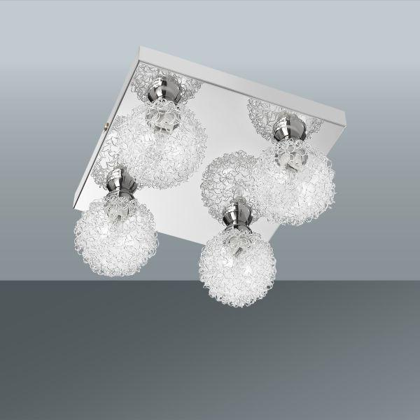 Deckenleuchte Mia, max. 4x33 Watt - Chromfarben, MODERN, Glas/Metall (21/21/12cm) - MÖMAX modern living