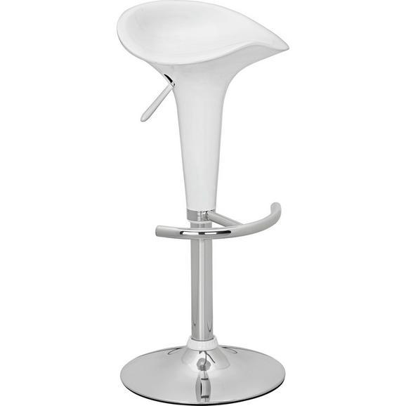 Scaun Pentru Bar Pazifik - alb, Modern, plastic/metal (38,5/66,5-86,5/38,5cm) - Modern Living