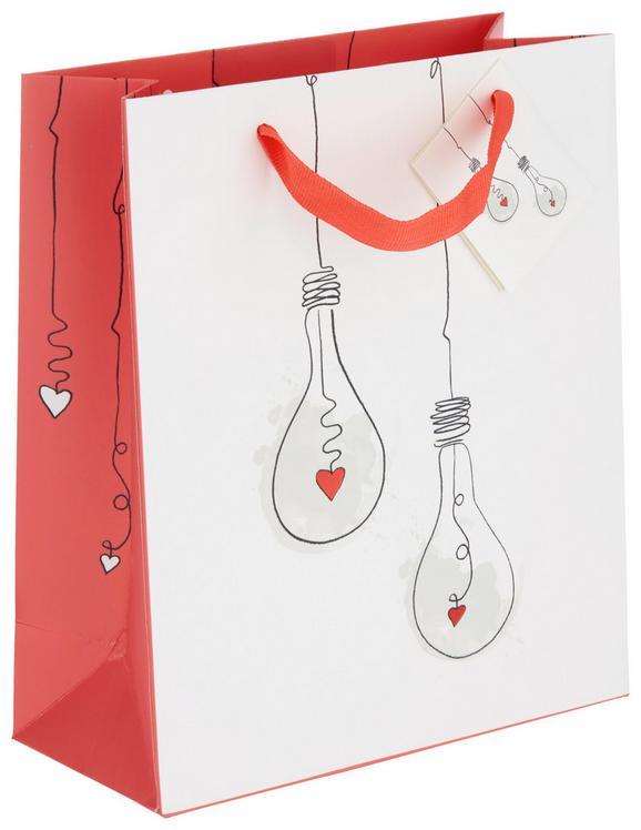 Geschenktasche Jana Rot/Weiß - Rot/Weiß, Papier (18/21/8cm)