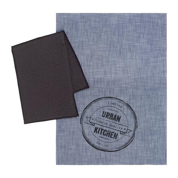Törlőkendő Szett Urban - fekete/kék, modern, textil (50/70cm) - MÖMAX modern living