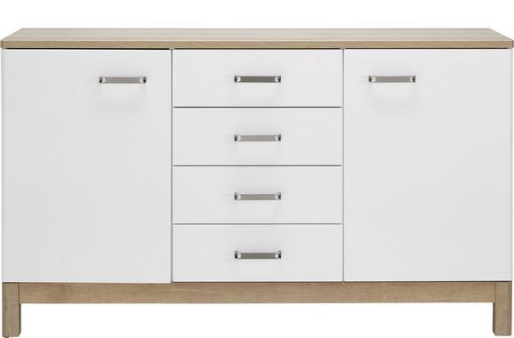 Sideboard Weiß/Eichefarben - Chromfarben/Eichefarben, MODERN, Holzwerkstoff/Metall (150/88/42cm) - MÖMAX modern living