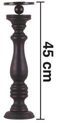 Kerzenhalter Tommy - Schwarz, ROMANTIK / LANDHAUS, Holz/Metall (12,5/45cm) - Premium Living