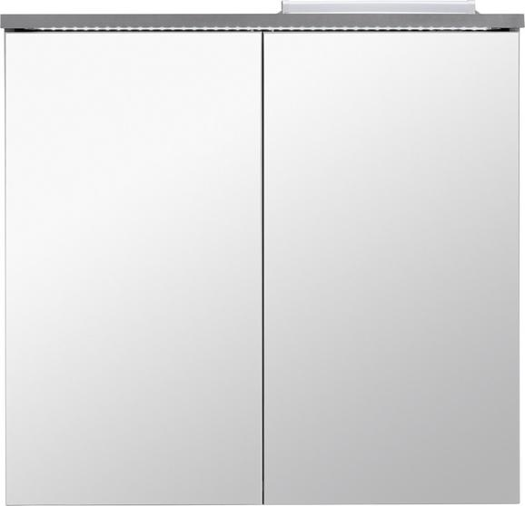 Spiegelschrank Grau - Grau, MODERN, Glas/Holzwerkstoff (80/77/23cm) - Mömax modern living