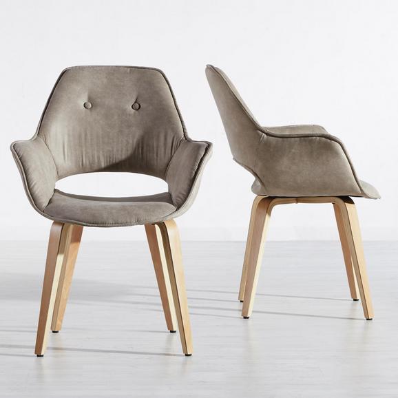 Armlehnstuhl Nadia - Buchefarben/Braun, MODERN, Holz/Textil (63/85/60cm) - Mömax modern living