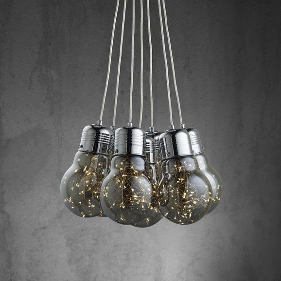 Pendelleuchte Inna mit Led 7-flammig - Chromfarben/Grau, MODERN, Glas/Metall (45/150cm) - Mömax modern living