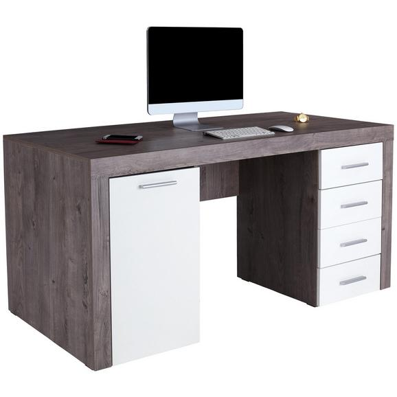 Pisalna Miza Cubus - hrast/krom, Moderno, umetna masa/leseni material (160/75/70cm) - Mömax modern living