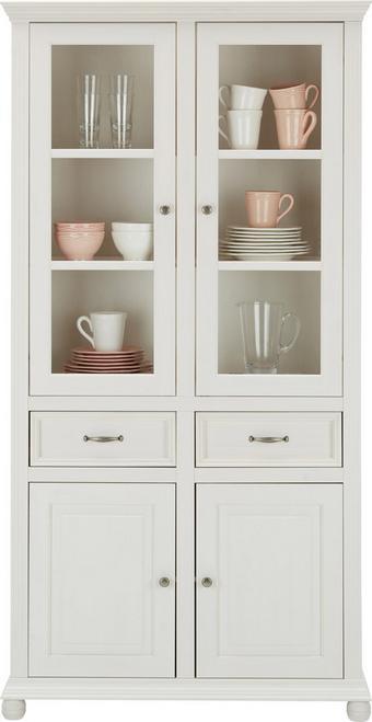Vitrine aus Echtholz in Weiß - Weiß, ROMANTIK / LANDHAUS, Glas/Holz (105/200/45cm) - ZANDIARA