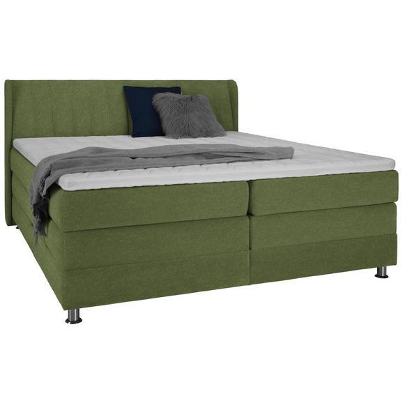 Boxspringbett in Grün ca. 160x200cm - Chromfarben/Grün, KONVENTIONELL, Kunststoff/Textil (160/200cm) - Premium Living