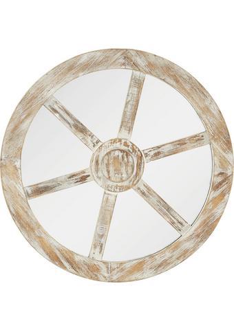 Spiegel in Weiss antik Ø/H ca. 80x5 cm 'Drive' - Weiß, Glas/Holz (80/5cm) - Bessagi Home