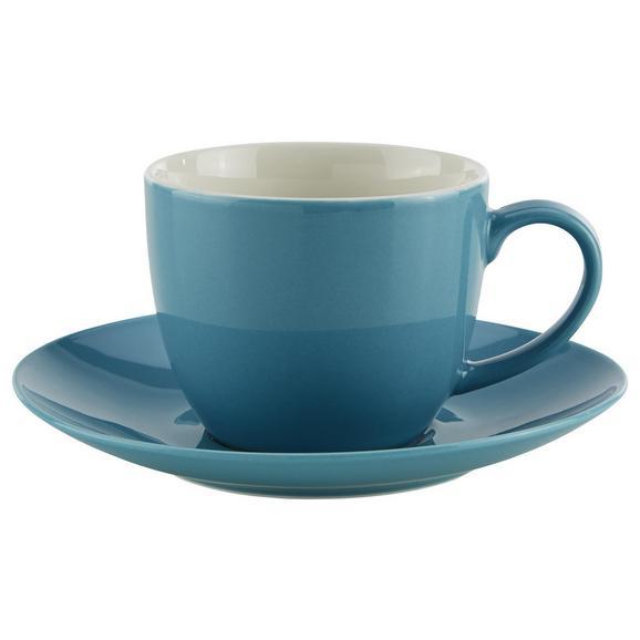 Skodelica Za Kavo S Krožničkom Sandy - modra, Konvencionalno, keramika (5/6,9cm) - Mömax modern living
