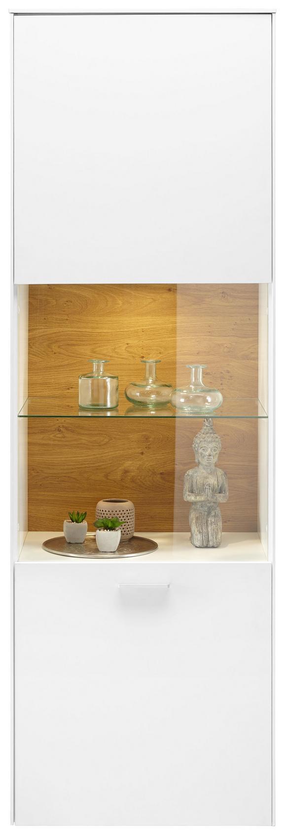 Vitrine Weiß matt - Chromfarben/Silberfarben, MODERN, Glas/Holzwerkstoff (60/189/42cm) - PREMIUM LIVING