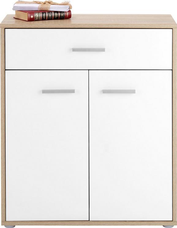 Kommode in Weiß/Eichefarben - Chromfarben/Eichefarben, MODERN, Holzwerkstoff/Kunststoff (68/80/34cm) - MÖMAX modern living