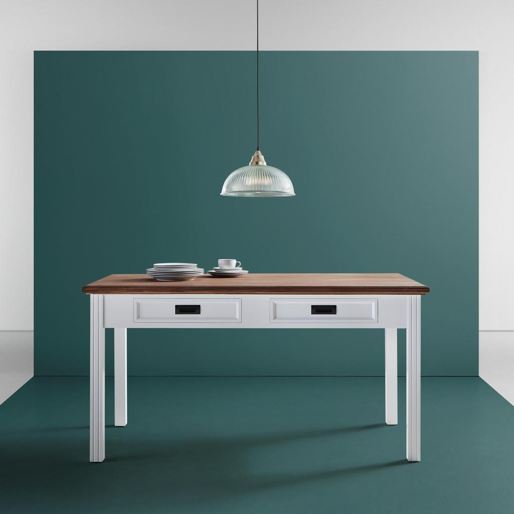 Esstisch in Weiß/Kieferfarben ca.150x80cm 'Melanie'