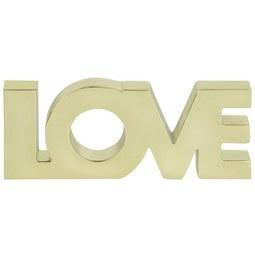 Dekoschriftzug Love Silber - Goldfarben, LIFESTYLE, Metall (12,7/4,93/1,42cm)