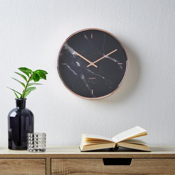 Wanduhr Priya ca.ø30,4cm - Schwarz, MODERN, Glas/Kunststoff (30,4cm) - Mömax modern living