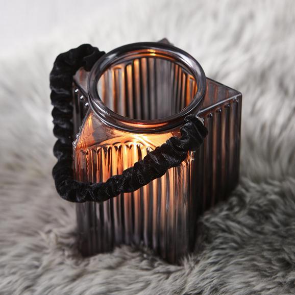 Windlicht Malin Ø/h ca. 14/16 cm - Dunkelgrau, MODERN, Glas (14/16cm) - Mömax modern living