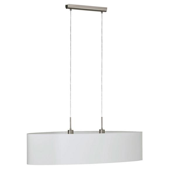 Pendelleuchte Pasteri 2-flammig - Weiß/Nickelfarben, MODERN, Textil/Metall (100/28/110cm)