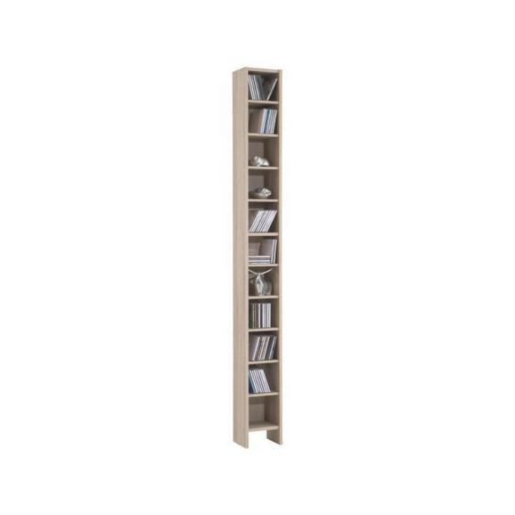 Regal Za Cd-je Hallo 2 - hrast, leseni material/les (20/185/17cm)