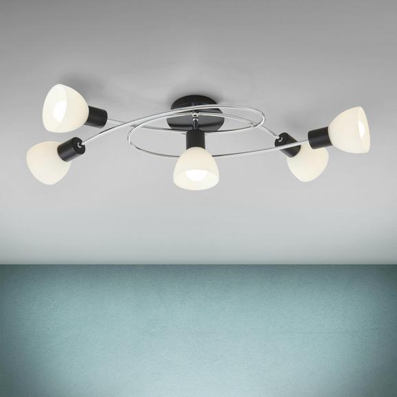 Deckenleuchte Dian 5-flammig - Chromfarben/Schwarz, MODERN, Glas/Metall (67/28/16,5cm) - Modern Living