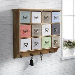 Schlüsselboard Multicolor ca. 58x51x13 cm 'Tina' - Multicolor, KONVENTIONELL, Holz/Metall (58/51/13cm) - Bessagi Home