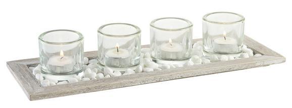 Teelichtschale Emilia Braun - Klar/Braun, Glas/Holz (40/14/7cm) - Mömax modern living