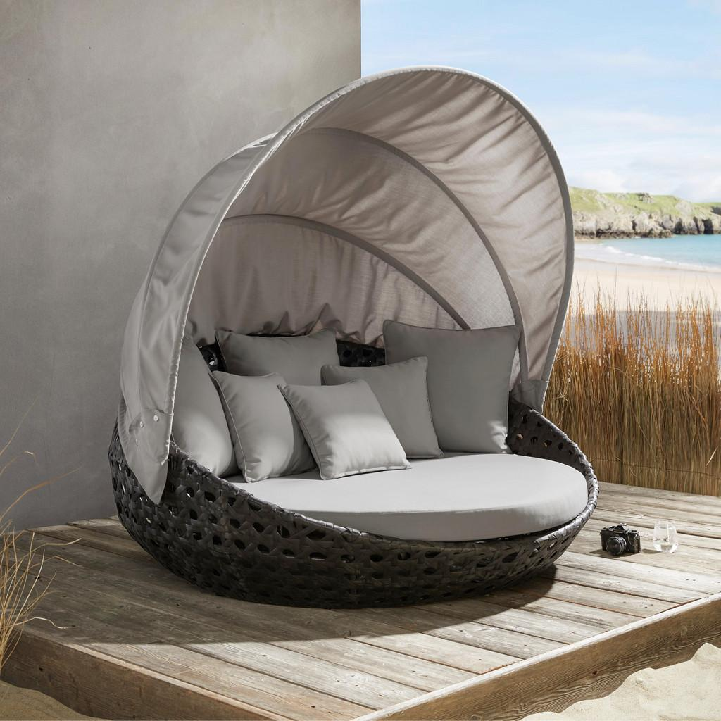 "*NEU*: Gartensonneninsel ""Dolly"" aus Polyrattan, grau"