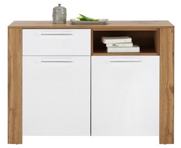Kommode Wildeiche/Weiß - Silberfarben, MODERN, Holzwerkstoff/Kunststoff (116/83/38cm)