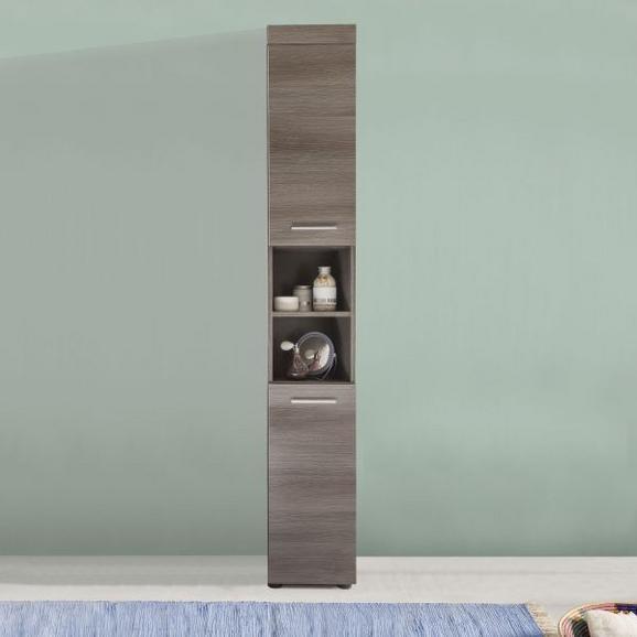Hochschrank Runner/moon - Silberfarben/Alufarben, MODERN, Holzwerkstoff/Kunststoff (30/190/31cm)
