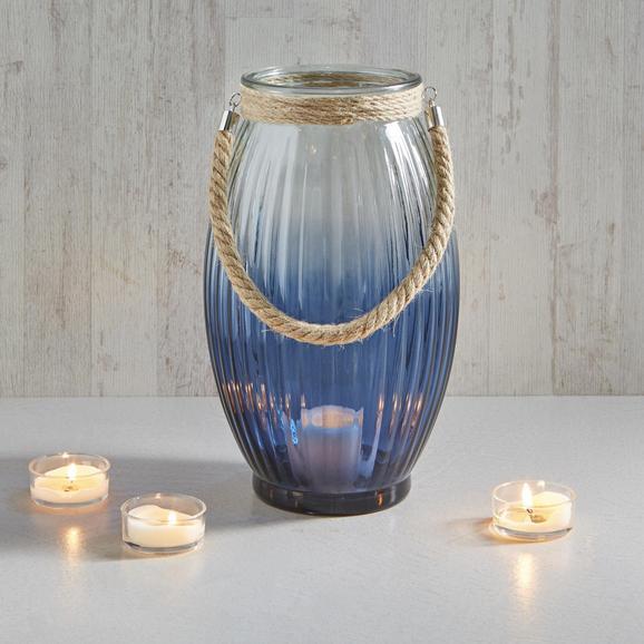 Windlicht Rhys - Blau/Klar, MODERN, Glas/Textil (22,5/38cm) - MÖMAX modern living